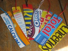 Cereal box bookmarks (for earth day?)