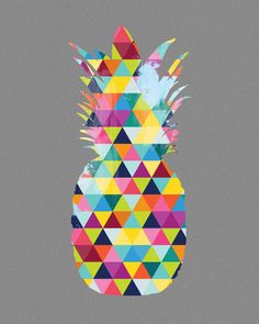 Pineapple Art Print Bright Geometric Colorful Colourful Yellow Grey Blue Pink Green Modern Wall Home Decor