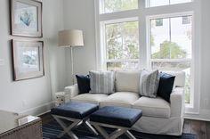 navy white study, lindsaycannoninteriordesign.com, coastal study, 30a interior design, lovelace interiors Furniture, Interior, Love Seat, Remodel, Home Decor, Oak, Interior Design, Couch, Navy And White