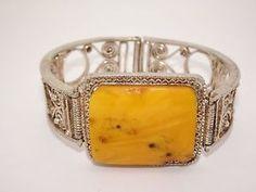Antique Vintage Natural Baltic Egg Yolk Butterscotch Amber Bracelet