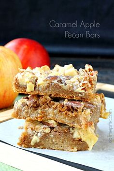 Caramel Apple Pecan Bars are robust in fall flavors. They're rich, dense, soft You'll love the fudge-brownie-like texture, the chewy apples & crunchy pecans Fall Dessert Recipes, Apple Desserts, Homemade Desserts, Fall Desserts, Fall Recipes, Sweet Recipes, Delicious Desserts, Party Recipes, Pecan Recipes
