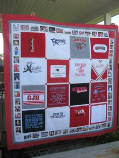 Custom Memory Quilts - I want to do this with the girls dance recital t-shirts that they have outgrown. Another reason to learn to sew T-shirt Quilts, Easy Quilts, Fireman Quilt, Quilting Projects, Sewing Projects, Fashion Design Classes, Quilted Wall Hangings, Embroidery Techniques, Embroidery Fashion