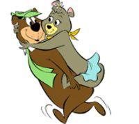 Yogi Bear with Cindy Bear on his back.