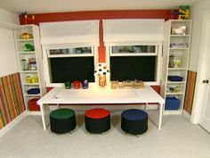 like the idea of having a desk area just under the window for the kids to work/draw at.