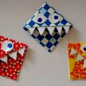 Simple crafting guide for bookmark monsters - Origami İdeas Paper Crafts Origami, Origami Easy, Diy Paper, Recycled Crafts Kids, Diy Crafts For Kids, Arts And Crafts, Origami Templates, Textiles, Birthday Diy