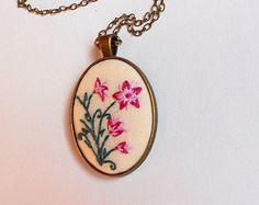 Pink Flower Necklace Unique Necklace for Woman by RedWorkStitches
