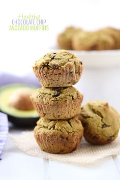Swap the butter for avocado in these Healthy Chocolate Chip Avocado Muffins. They're moist and delicious with a chocolate kick for a healthy snack recipe on the go. I mentioned back in my Best of THM Avocado Muffins, Healthy Muffins, Healthy Treats, Healthy Baking, Healthy Foods, Healthy Recipes, Paleo Muffin Recipes, Whole Food Recipes, Snack Recipes