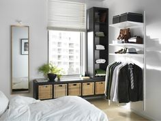 ALGOT wall shelves and rods make organization easy and require minimal space.