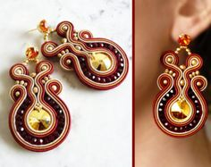 Soutache Earrings Handmade Earrings Hand Embroidered by LaviBijoux