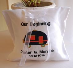 Camper van themed embroidery ring pillow. Personalized with names and wedding date. louise@heavenlygarters.co.za www.heavenlygarters.co.za Ring Pillows, Camper Van, Names, Embroidery, Coffee, Rings, Wedding, Kaffee, Valentines Day Weddings