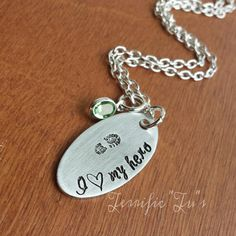 I Love My Hero Hand Stamped Boot Print or Police by TerrificTus, #hero #military #boot #police #firefighter #jewelry #terrifictus