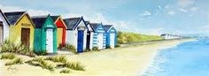 Znalezione obrazy dla zapytania watercolour landscapes beach