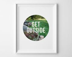Get Outside Print, Cottage Decor, Modern Cabin Lakehouse Decor, Summer Green and White Decor, Playroom Decor, Rock Moss Grass Photography