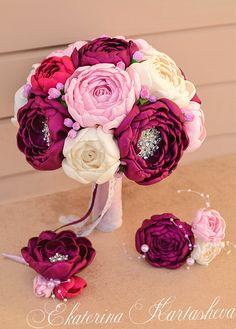Unique Fabric bouquet, Flower Bridal Bouquet , brooch bouquet Marsala , pink, ivory peonies.