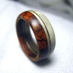 Moose Antler and Wood Ring  Layered Band Ring by Endeavours, $75.00