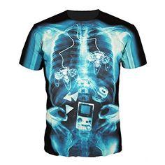 e577d6f3a91d  7.29 - Fashion Womens Mens X-Ray Of Gamer Funny 3D Print T-