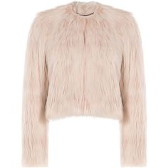 R.E.D. Valentino Faux Fur Jacket found on Polyvore featuring outerwear, jackets, coats, tops, beige, beige jacket, faux fur jacket, slim jacket, pink jacket and red valentino