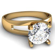 Round Cut Diamond Engagement Rings In 18K Yellow Gold   Semi Split Ring   Fascinating Diamonds