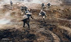 No Man's Land: This retouched picture - originally from a 1928 film - shows a French sold...