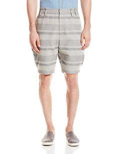 Thaddeus O'Neil Men's Reverse-Pleat Striped Short