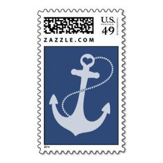 irish anchor and sea stamps | Navy Blue Anchor Stamp