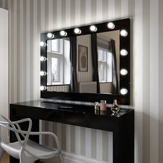 Marilyn Hollywood Mirror in Black Gloss 80 x 100cm - hollywood mirrors