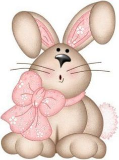 Tan Rabbit 🐰 with Pink Bow Bunny Crafts, Easter Crafts, Hoppy Easter, Easter Bunny, Diy Ostern, Pintura Country, Cute Clipart, Easter Printables, Vintage Easter