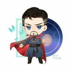 Doctor Strange 💕 Créditos al artista . Baby Avengers, Marvel Avengers, Marvel Comic Universe, Marvel Dc Comics, Kawaii Drawings, Cute Drawings, Chibi Marvel, Superfamily Avengers, Marvel Drawings