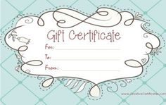 30 Best Gift Certificates Images Gift Vouchers Free Gift