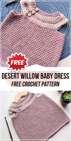 crochet Desert Willow Baby Dress free pattern - easy crochet baby-dress pattern for beginners Source by shareapattern Jacket Crochet Baby Jacket, Crochet Baby Dress Pattern, Crochet Romper, Baby Girl Crochet, Crochet Baby Clothes, Crochet For Boys, Cute Crochet, Easy Crochet, Crochet Patterns