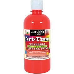 Washable Art-Time(R) Fluorescent Tempera Paint 10oz-Red - Red