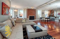 Cherry hardwood floors. with grey and yellow accents.  excellent