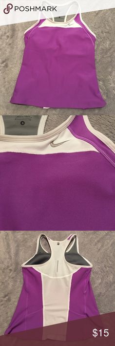 Nike Tank Nike Dri-Fit Tank. Purple with white. Size small. Great condition. ❌No Trades❌ Proceeds go towards feeding the homeless ❌Bundle to save, I have hundreds of items to choose from❌ Nike Tops Tank Tops