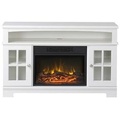 Latitude Run McCall TV Stand with Electric Fireplace Finish: White ...