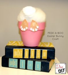 An Easter Bunny Craft using a flower pot that's easy enough your kids can do it and cute enough you will want one in every color for your Easter Decor! Easter Egg Crafts, Easter Projects, Bunny Crafts, Craft Projects, Easter Decor, Easter Ideas, Craft Ideas, Easter Eggs, Craft Decorations