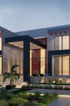 Modern Exterior House Designs, Modern House Facades, Modern Villa Design, Dream House Exterior, Modern Architecture House, Modern Interior Design, Exterior Design, Dubai Architecture, Modern Houses