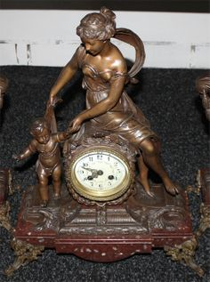 Antique French Spelter Mantel Clock by Moreau | Antique Mantel/Wall Clocks | Inessa Stewart's Antiques
