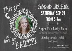 This cute chalkboard style invitation features YOUR, girl!  by Melinda Bryant Photo on Etsy.  Click on the photo to shop for this, and many other fun and unique birthday invitations and decorations.  //  printables, party, girls, chalkboard, tween, kids, photo #melindabryantphoto #tweenpartyideas