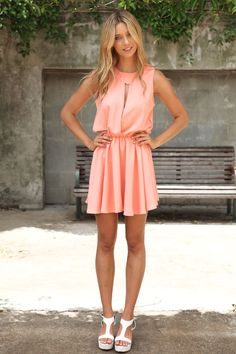 Coral casual and flirty dress. Love this so much!