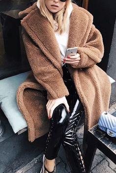 Autumn And Winter Fashion Pure Color Loose Casual Lapel Warm Coat Fall Fashion Trends, Winter Fashion, Coats For Women, Jackets For Women, Fall Jackets, Fur Coat Outfit, Long Fur Coat, Warm Coat, Winter Coat