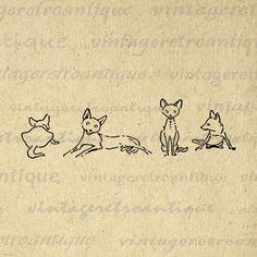 Digital Printable Four Foxes Download Cute Illustration Graphic Image Vintage Clip Art Jpg Png Eps 18x18 HQ 300dpi No.890 @ vintageretroantique.etsy.com