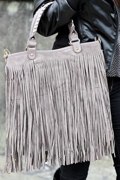 RESTOCK Mad About Fringe Purse: Grey