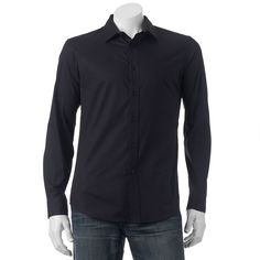 Men's Apt. 9® Slim-Fit Stretch End-On-End Button-Down Shirt, Size: