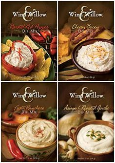 Wind  Willow Dip Mix 4 Flavor Variety Bundle Cheesy Bacon Roasted Red Pepper Asagio and Roasted Garlic and Fiesta Ranchero 4 Packs Total ** Read more reviews of the product by visiting the link on the image.