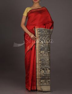 Kusum Plain Red With Grand Pallu #MadhubaniHandPaintedSaree