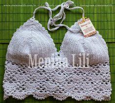 Menina Lili Croche: Top Cropped de Crochê Branco