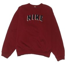 Nike Sweatshirt Large Perennial Merchants ($24) ❤ liked on Polyvore featuring tops, nike tops, red top and nike