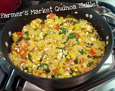 Quinoa skillet loaded with fresh vegetables! A healthy main meal for my vegetarian guest.