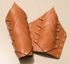 TAN LEATHER GAUNTLETS / BRACERS STEAM PUNK DRAGON SCALE LARP STEAMPUNK