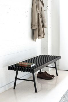 The Transit Bench by Gus Modern is a versatile design that can be used as seating for tight spots like entryways and bedrooms, or as a coffee table. Black Bedroom Furniture, Steel Furniture, Cheap Furniture, Living Room Furniture, Home Furniture, Furniture Design, Furniture Layout, Kitchen Furniture, Living Rooms
